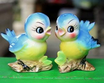 Vintage Blue Birds Salt & Pepper Shakers Japan 1950's Norcrest Lefton Napco Anthropomorphic Figurines Collectibles Decorations Bluebird