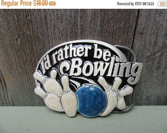 On Sale 80s I'd Rather Be Bowling Buckle The Great American Buckle Company 1984 Vintage Pewter