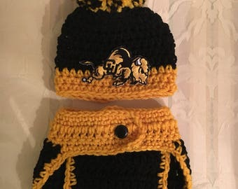 Baby Colorado Buffaloes hat and diaper cover, newborn Colorado Buffaloes photo prop, boys Colorado Buffaloes hat