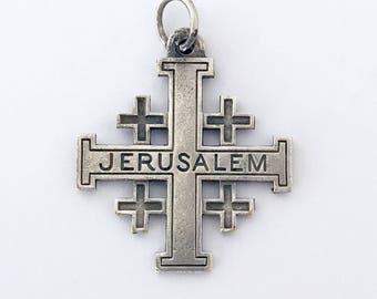 1930s Vintage French Jerusalem Cross Religious Charm Cross Crucifix