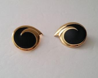 MONET Gold Tone Faux Black Enamel Clip On Earrings