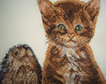 Finely Cross Stitched Kitty and Hampster? - Matted