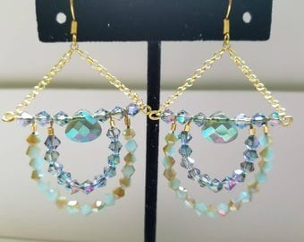 Blue and Gold Chandelier Earrings