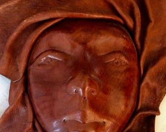 Large Vintage Handmade Leather Female Face