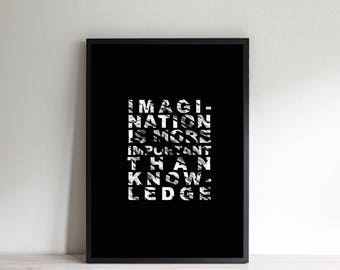 IMAGINATION printable | Black and white | Albert Einstein quote | Digital file | art Poster-INSTANT DOWNLOAD