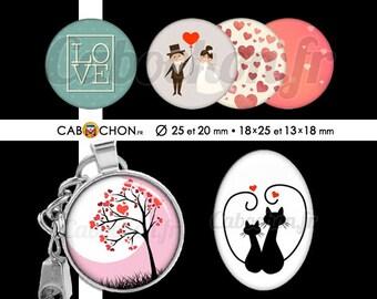 Saint Valentin 2 • 60 Images Digitales RONDES 25 20 mm et OVALES 18x25 13x18 mm amour love vie chat arbre coeur mariage