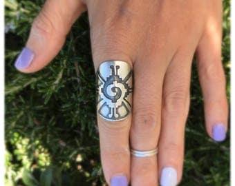 Hunab Ku Ring/ Sterling Silver Ring/ Chunky Ring/ Big Ring/ Statement Ring/size 6.5