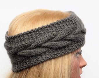 Gray Ear Warmer, Knitted Winter Headband ,Knit and Crochet Headband, Ear Warmer,Brown Headband,Crochet Headband,Knit Turban Headband
