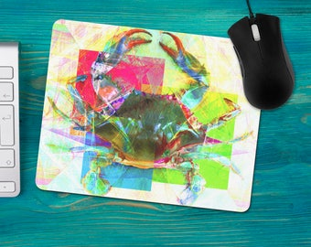 Watercolor Crab Mouse Pad, Maryland Blue Crab Mousepad, Gulf Coast Crab, Office Desk Accessories, Personalized Mouse Pad, Office Supplies