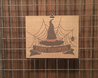 Happy Halloween | Witch | Burlap Fabric Print | Rustic Decor | Home Decor | Seasonal Decor