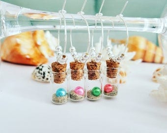 4 BEACH WINE CHARMS, Wine Glass Charms, Unique Wine Gift for Housewarming, Nautical Wine Glass Charms, Beach Bridal Shower, LasmasCreations