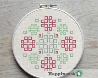 modern cross stitch pattern, geometric ornament, endless knots, folk art, PDF ** instant download**