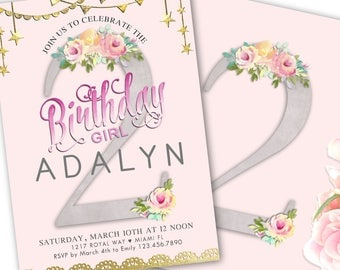 2nd Birthday Invitation Girl, 2nd Birthday Invite, Pink Florals, Gold Stars, Second Birthday Party Invitation, Printable Download or Printed