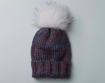 Purple Multi Wooly Hat w. Fur POM POM