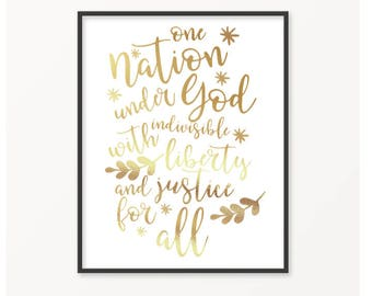 One Nation, American, Fourth of July, Gold Foil Print