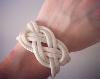 Sailor knot ivory and silver anchor bracelet