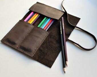 Leather Brush Roll, Artist Wrap - Leather Artist Roll, Pencil Organiser - Painter's Travel Bag, Sketch, Designer