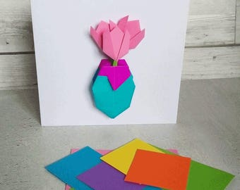Greetings Card - Vase of Tulips - removeable origami vase containing 3 tulips, birthday,mothers day, get well soon