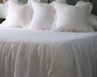 Ruffled Linen Sham, Linen Euro Sham, Linen Bedding, Ruffled Bedding, Pillow Sham