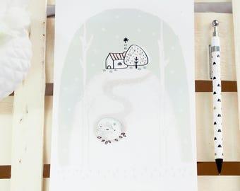 """Affichette / Grande carte - """"Lomiön, le renard menthe des forêts"""" - Carte de voeux / Noël - Décoration / Maison / Chambre - Enfants /"""