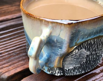 Crystalline Glaze Coffee Mug, Cappuccino Cup, or Soup Bowl with Handle, Handmade from Porcelain Clay.  3 In. tall, 12 oz, Food Safe.