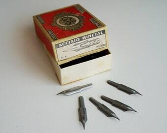 5 vintage acier plumes pour calligraphie Nibs UGB extrafine jamais utilisés années 1950