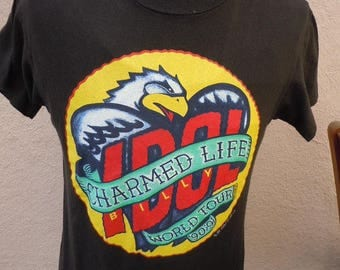 Size L (45) ** 1990 Billy Idol Charmed Life Concert Shirt (Double Sided)