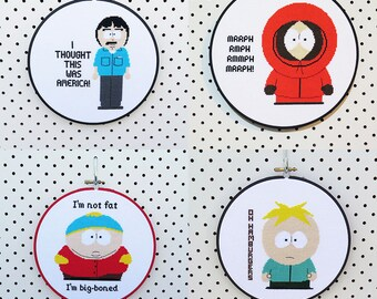 Any 3 South Park Cross Stitch Patterns