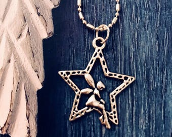 Tinkerbell Fairy Resting on a Star Necklace
