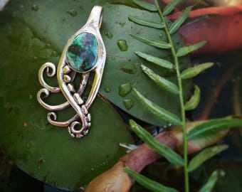 Beautiful Noveau Shattuckita Pendant... Recicled..twisted in curvey shaps.. german silver and Sterling Silver