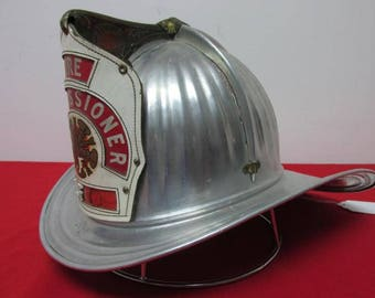 Rare vintage American CAIRNS leather front piece aluminum fireman helmet with eagle Fire Commissioner circa 1930s