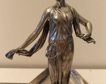 Antique European Art Nouveau Neoclassical lady figural silver plated metal 3 compartments tray circa 1900s