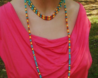 Candycorn and Turquoise convertable beaded necklace