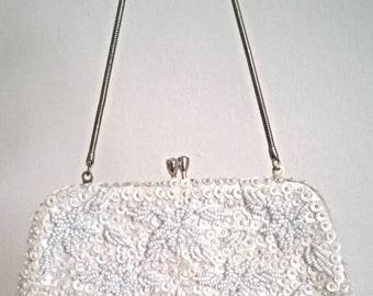Beautiful La Regale Ivory Bead  and Sequin Evening Bag/Purse - vintage