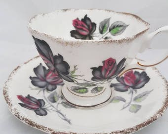 Vintage//Royal Albert Masque Rade China England//tea cup and saucer//gold edge//fine bone china made in England//brocant//serving