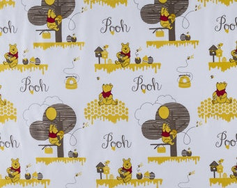 Winnie the Pooh Fabric by the Yard or Half Yard, Pooh Material, Disney Fabric, Cotton Fabric, Quilting Fabric, Apparel Fabric with Pooh