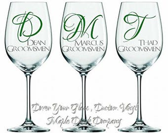 3 Wedding Party Decals. Choose from 21 colors. Perfect for Wine Glasses, Champagne Flutes, Yeti Cups, and Flasks.