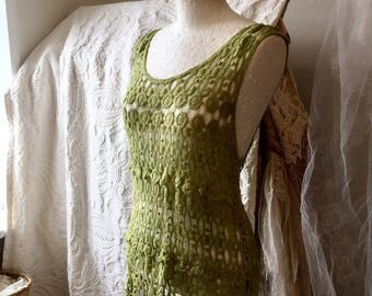 Boho crochet top, green kni top, cotton top green, bohemian top green, RawRags,elven top green,crochet top green,eco friendly top handmade,