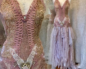 Boho wedding  dress pink , fairy boho wedding dress,rawrags Wedding dress,shabby chic wedding,recycle ,rustic wedding dress,bridal gown pink