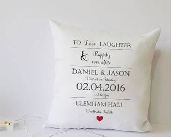 personalised wedding gift, wedding cushion, gift for couple, wedding gift, personalised cushion, wedding present, personalised gift, cushion