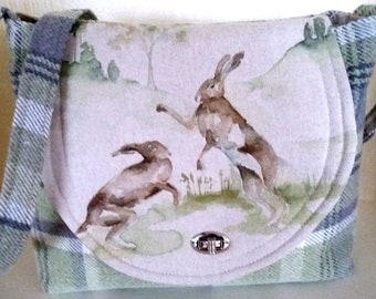 Handmade Shoulder Bag with Two Hares in green wool check fabric and long shoulder strap