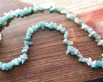 "Green Aventurine Necklace Large Chip Necklace 26""  #130"