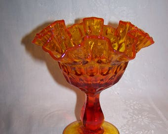 Set of 2 Amberina Glass Serving Dishes
