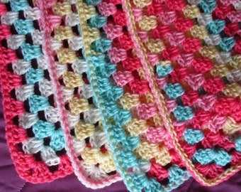 "4 Colorful Baby Blanket Afghans choices, Baby Girl Afghan, Granny, Ripple, Striped or Lacy, White Yellow Aqua Light/Dark Pink, 28""+ x 36""+"