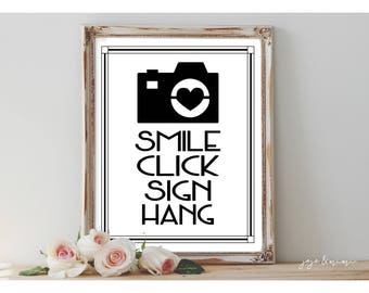 INSTANT 'Smile Click Sign Hang' Camera Sign Photo Guestbook Printable Wedding or Event Sign Size Options Modern Black Tie