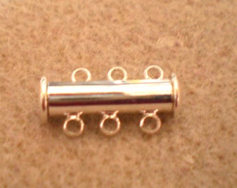 A silver tube clasp magnetic 3 holes 20 x 10 mm
