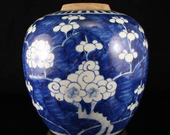 N3873 Chinese Qing Dynasty Blue And White Porcelain Pot