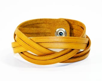 Yellow Leather Cuff Bracelet! Nice gift for women! Yellow wrist cuff! Bracelet wof women! Bracelet for men.