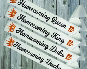 WHITE SASH CROWN Homecoming Court