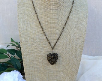 Brass Wire Heart Necklace.     Heart Pendant Necklace
